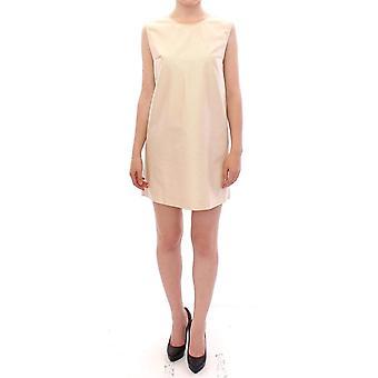 Beige sleeveless shift mini dress