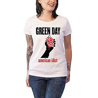 Green Day T Shirt American Idiot Heart new Official Womens Skinny Fit White