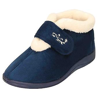 JWF Slipper Ankle Boots Warm Bootee Memory Foam Navy