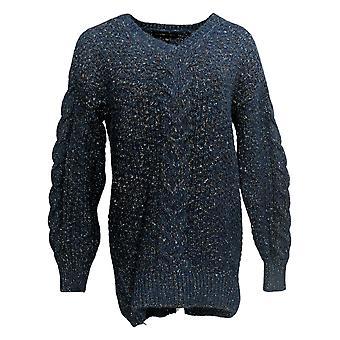 Adrienne Vittadini Women's Sweater Pullover Long Sleeves V Neck Blue