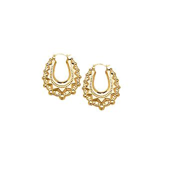 Eternity 9ct Gold Oval 28mm Spike Creole Hoop Boucles d'oreilles