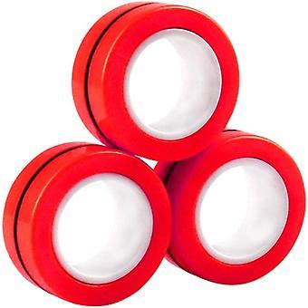 Fidget Hračky Magnetické krúžky 3 balenia Červená