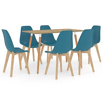 7 Piece Dining Set Turquoise