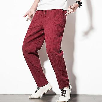 Striped Trousers Long, Loose Harem Men's Pants, Summer Style, Cotton And Linen,