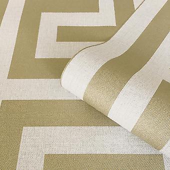 Greek Key Gold Cream Wallpaper