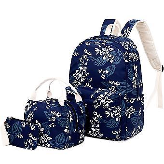 حقيبة ظهر نايلون النساء حقيبة ثلاث قطع مطبوعة على ظهره