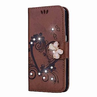 Amor wzór błyszczące skórzane etui dla Samsung Galaxy J510 - Brązowy