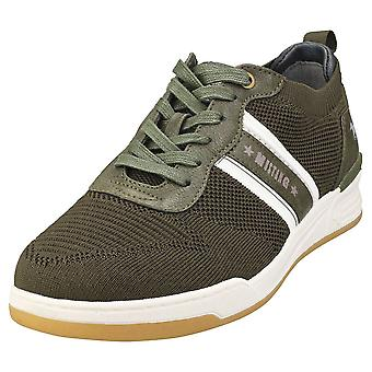 Mustang Low Top Sneaker Mens Casual Trainers in Olive