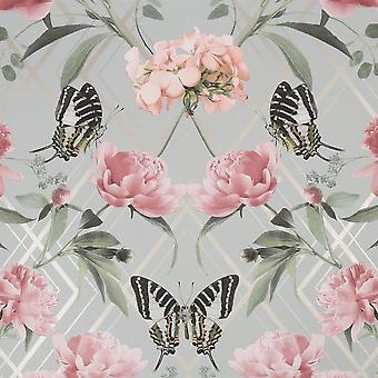 Botanische Trellis Grau/Rosa Wallpaper