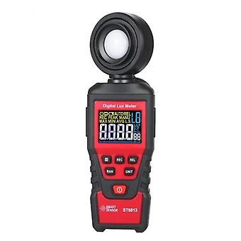 SMART SENSOR ST6813 Handheld Illuminometer LCD Color Screen Digital Illuminance Light Lux Meter Measurement Tool Battery Operated Photometer Luxmeter with 180° Rotatable Probe Measuring Range Up to 100,000 Lux / 10,000 FC and 1pc Tool Bag for Indoor Plant