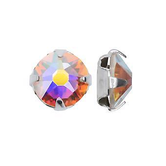 سواروفسكي كريستال، #53102 روز مونتيس SS16 4mm، 24 قطعة، كريستال AB / الفضة مطلي