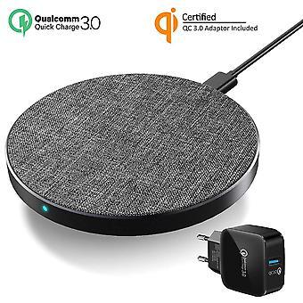 FengChun Qi Ladestation Fast Wireless Charger USB C+QC 3.0 Adapter Induktions Ladegerät 10W/7.5W für