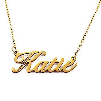 Katie - Anpassningsbart namn halsband med guldpläterade stenar