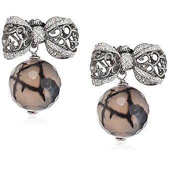 Misis Women-EarringsBon Ton Silver 925 White Zircons Agata 2.4 cm - OR08278C