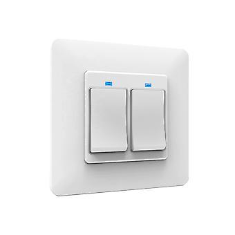 Intelligent PNI SmartHome WS222 double interrupteur d'éclairage pour le contrôle Internet compatible avec Google Home, Amazon Alexa et TuyaSmart APP