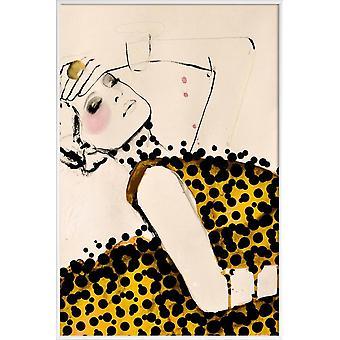 JUNIQE Print - Current - Affiches de mode en blanc cassé & jaune