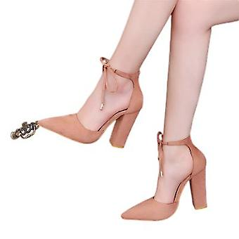 New Pointed Shoes With Straps And Suede Pumps