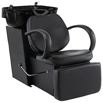 vidaXL kappersstoel met wastafel Zwart imitatieleer