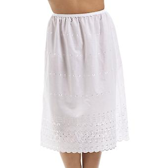 Camille Classic vit broderad 32'' halv längd spetsar Trim Under kjol Slip