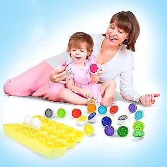 عد ومطابقة أرقام لعبة البيض التعليمية والمهارات الحركية الدقيقة - 12 بيضة قوية في كرتونة بلاستيكية 18m + dt6008