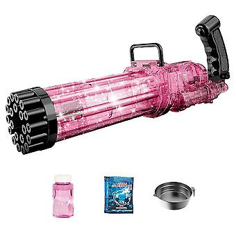 21-Hole Electric Gatling Bubble,Summer Outdoor Toys For Boys Girls(Pink)