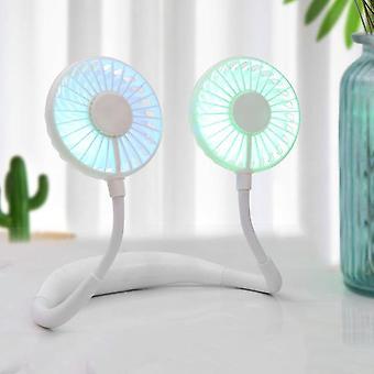 Portable Mini Neckband Fan 1200mAh USB Rechargeable Hang-on Neck Fans Minimalist