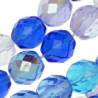 Czech Fire Polished Glass Beads, Faceted Round 10mm, 50 Pieces, Carribean Blue Mix