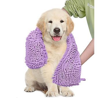2X الكلب منشفة فائقة الامتصاص الشامي السوبر مع جيوب اليد، سريعة الجافة الناعمة الألياف الدقيقة chenille المواد مناشف حمام الحيوانات الأليفة، الأرجواني