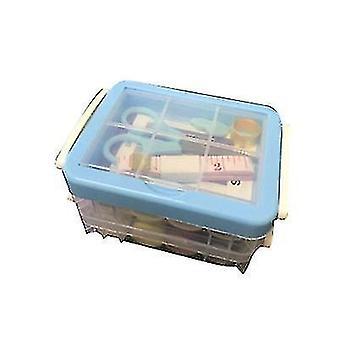 Drie-laags transparante naaidoos naald en draad opslag tool portable (blauw)