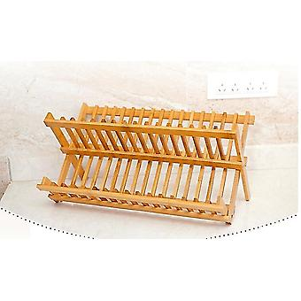 Folding Rack Double Layers Dishes Drainer