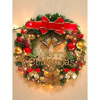 60cm/24in Artificial Christmas Wreath Flocked With Mixed Decorations And Pre-strung White Led Lights