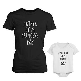 Mamma till prinsessan mamma Tee dotter till drottning Baby Girl Bodysuit matchande Outfits