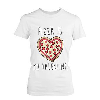 Unisex Pizza Is mijn Valentijn grappige Graphic Tee - wit katoenen T-Shirt
