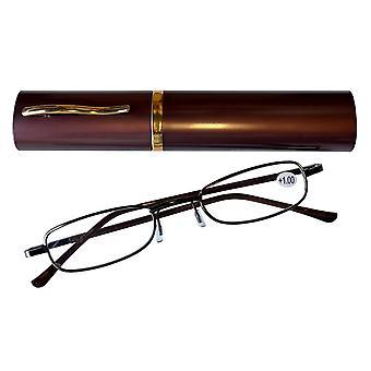 Duga Läsglasögon 1.0 med fodral brun
