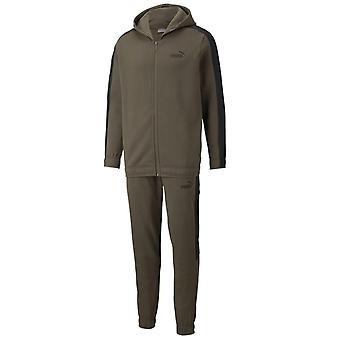 Puma Mens Fleece Fitness Training Sports Sweatsuit Tracksuit Set Khaki
