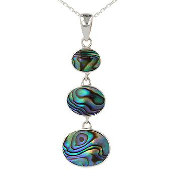 ADEN 925 Sterling Silver Abalone Parel parelhanger ketting (id 4132)