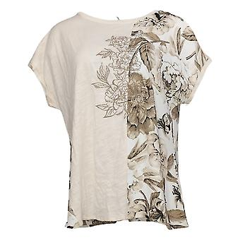 DG2 by Diane Gilman Women's Top Mixed Media Embroidered Tee Beige 655644