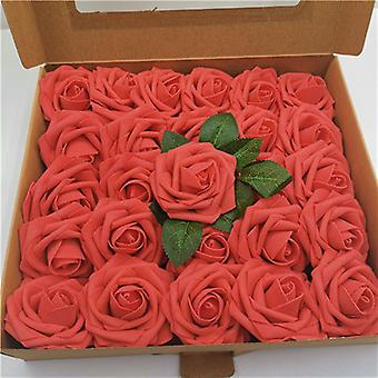50 Real Looking Foam Ivory Fake Roses With Stems ,party Decorations