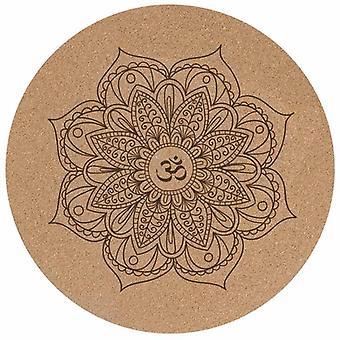 Jooga meditaatiomatto Pieni pyöreä Mandala Cork Mat Liukumaton Luonnonkumimatto Kuntoiluvälineet