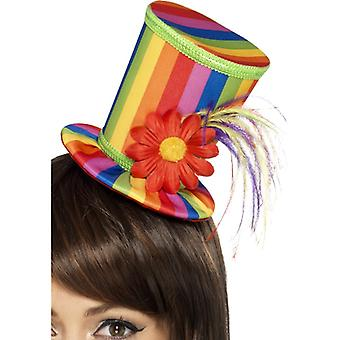 Rainbow Damen Hut Gay Pride Regenbogen Mini Zylinder