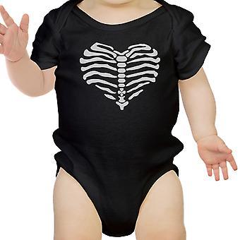 Cuore scheletro body bambino carino grafico body nero Halloween