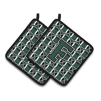 Bokstaven F fotboll grön och vit par grytlappar