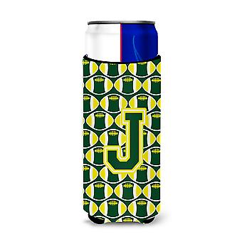 Letter J Football Green and Yellow Ultra Beverage Insulators for slim cans