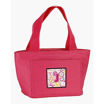 Letter J Flowers and Butterflies Pink Lunch Bag