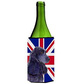 Cocker Spaniel with English Union Jack British Flag Wine Bottle Beverage Insulat