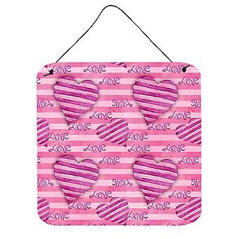 Cuori a strisce rosa caldo dell'acquerello parete o porta appeso stampe