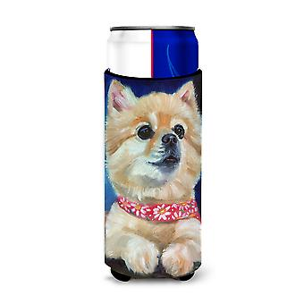 Fancy Bandana Pomeranian Puppy Michelob Ultra beverage Insulator for slim cans