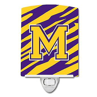 Letter M Monogram - Tiger Stripe - Purple Gold Ceramic Night Light