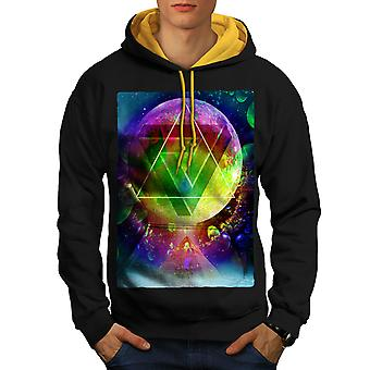 Psychedelic Cosmos Men Black (Gold Hood)Contrast Hoodie | Wellcoda