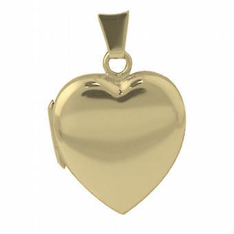 9ct kultaa 21x19mm tavallinen sydämen muotoinen medaljonki